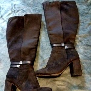 Black Suede Boots size 7.5 Wide Calf